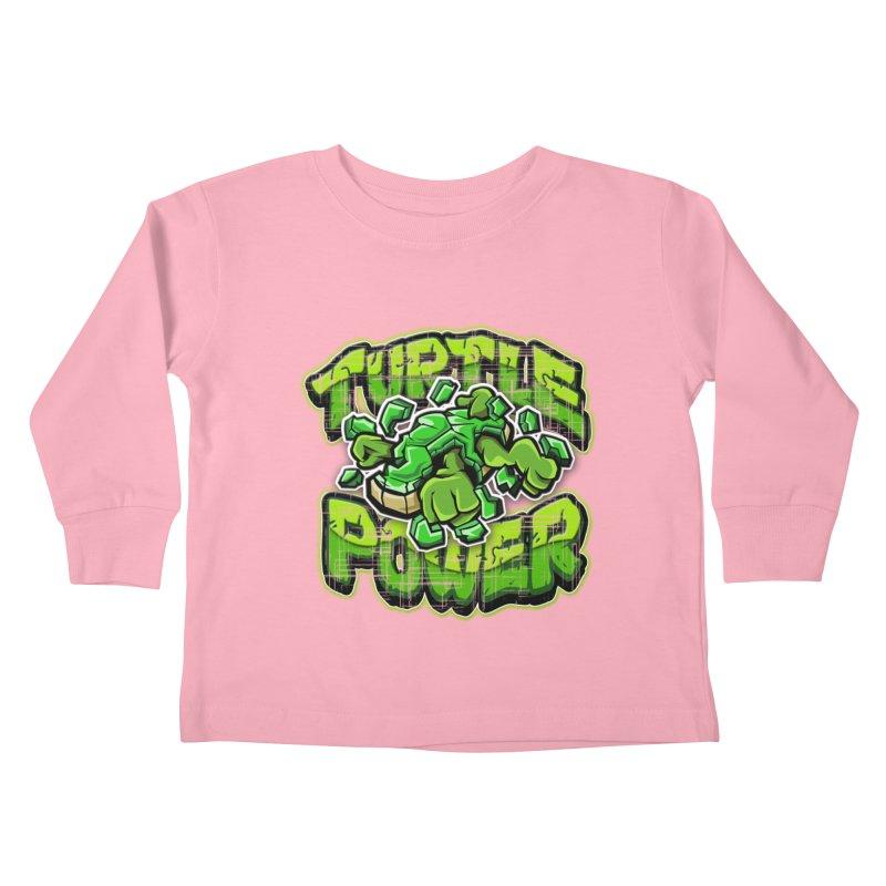 Turtle Power! Kids Toddler Longsleeve T-Shirt by FunkyTurtle Artist Shop