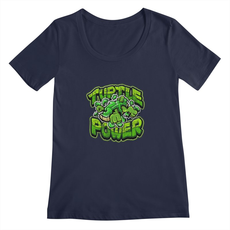 Turtle Power! Women's Scoopneck by FunkyTurtle Artist Shop