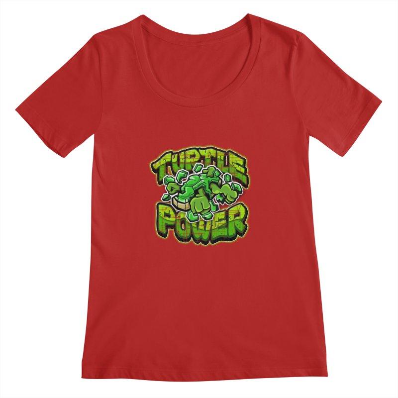 Turtle Power! Women's Scoopneck by FunkyTurtle Artist Shop