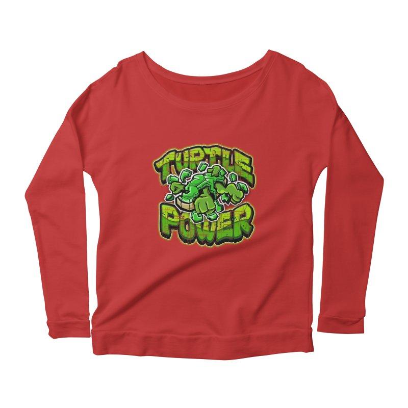 Turtle Power! Women's Longsleeve Scoopneck  by FunkyTurtle Artist Shop