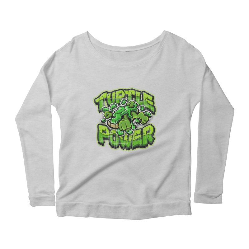 Turtle Power! Women's Longsleeve Scoopneck  by FunkyTurtle Artist Shop