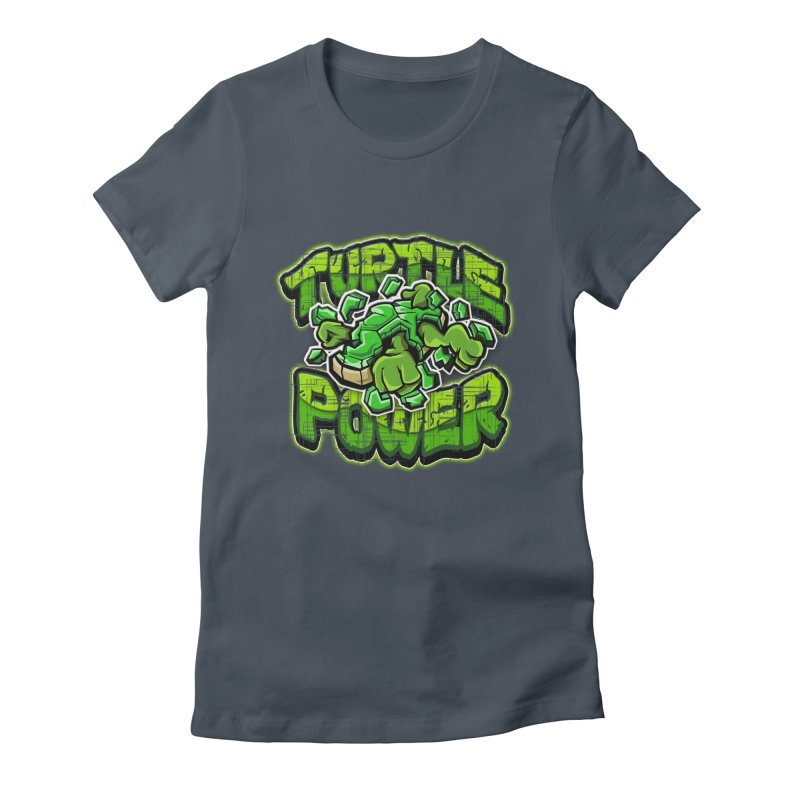 Turtle Power! Women's Fitted T-Shirt by FunkyTurtle Artist Shop
