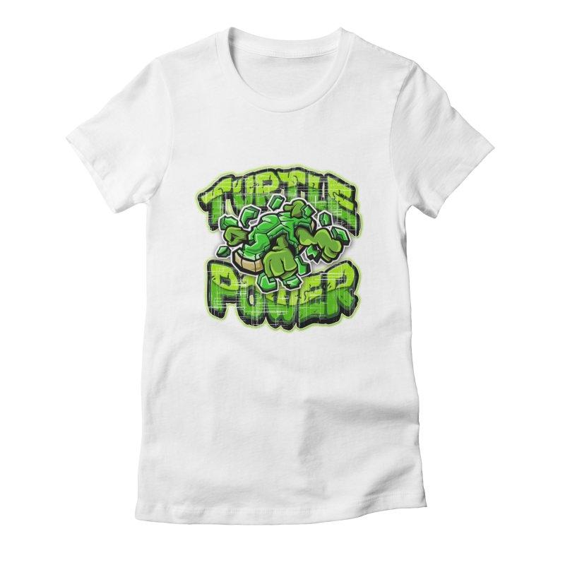 Turtle Power! Women's Fitted T-Shirt by FunkyTurtle Artist Shop