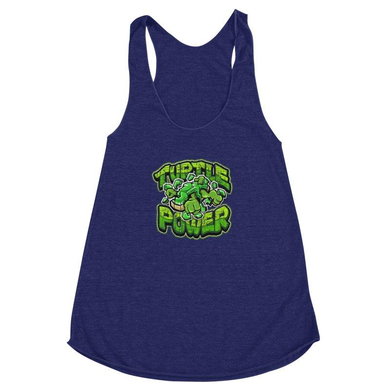 Turtle Power! Women's Racerback Triblend Tank by FunkyTurtle Artist Shop