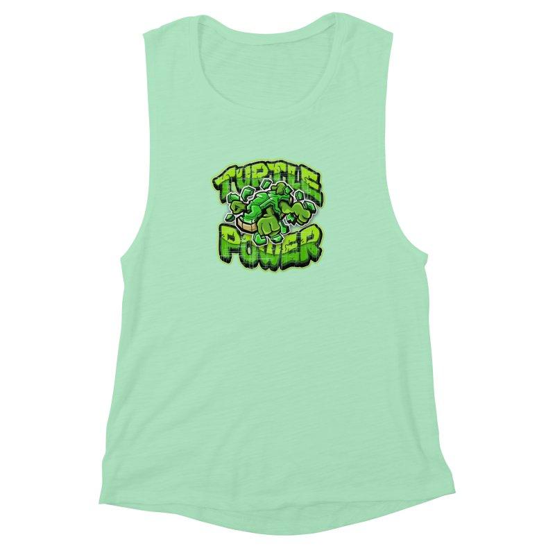 Turtle Power! Women's Muscle Tank by FunkyTurtle Artist Shop