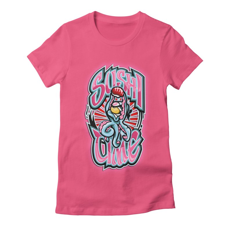 Sushi Time Women's Fitted T-Shirt by FunkyTurtle Artist Shop