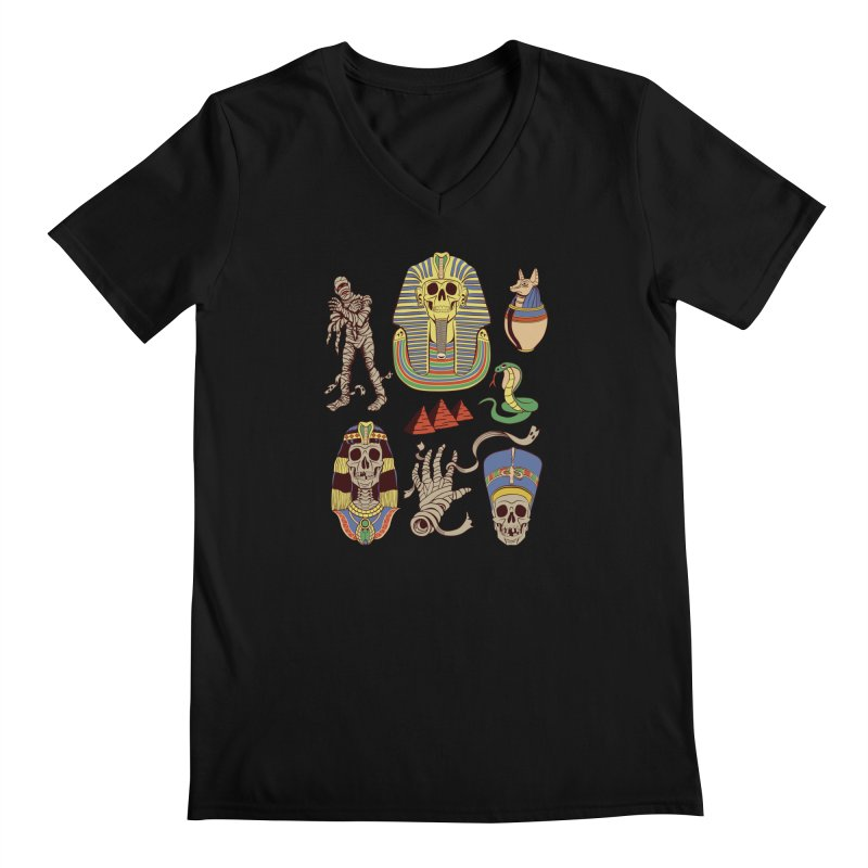 Mummy Death Pattern Men's Regular V-Neck by funnyfuse's Artist Shop