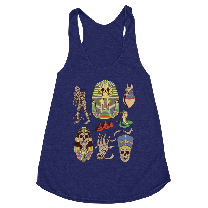 Mummy Death Pattern Women's Racerback Triblend Tank by funnyfuse's Artist Shop