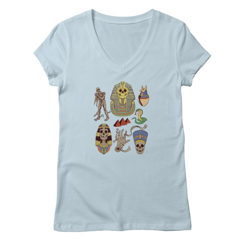 Mummy Death Pattern Women's V-Neck by funnyfuse's Artist Shop