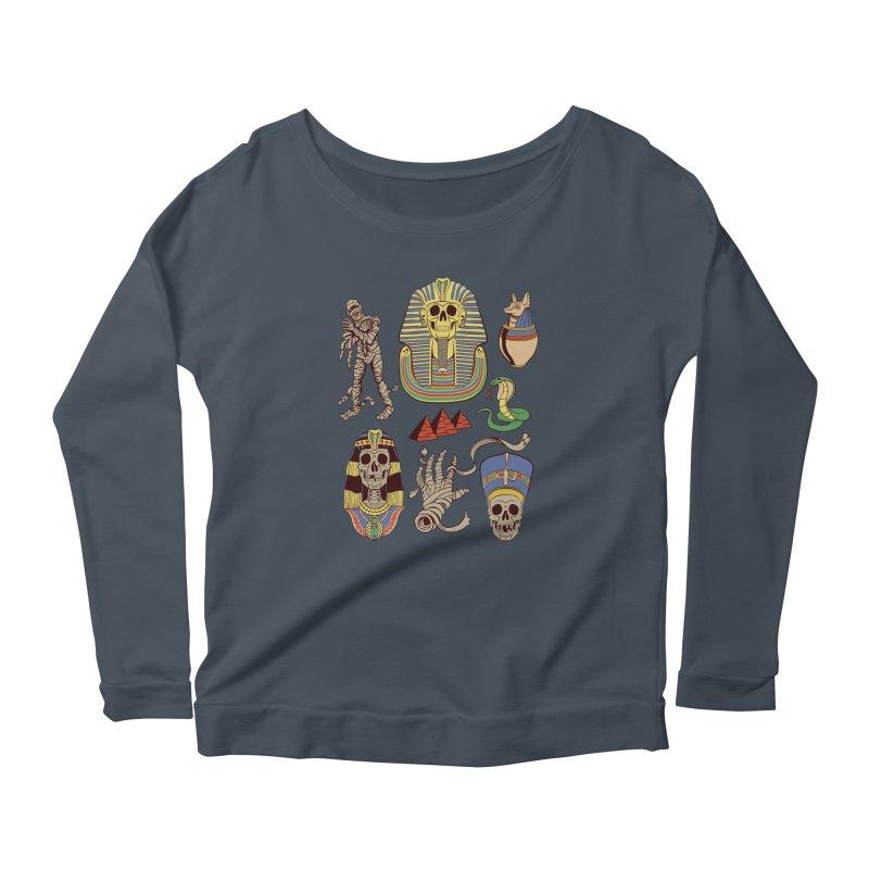 Mummy Death Pattern Women's Scoop Neck Longsleeve T-Shirt by funnyfuse's Artist Shop
