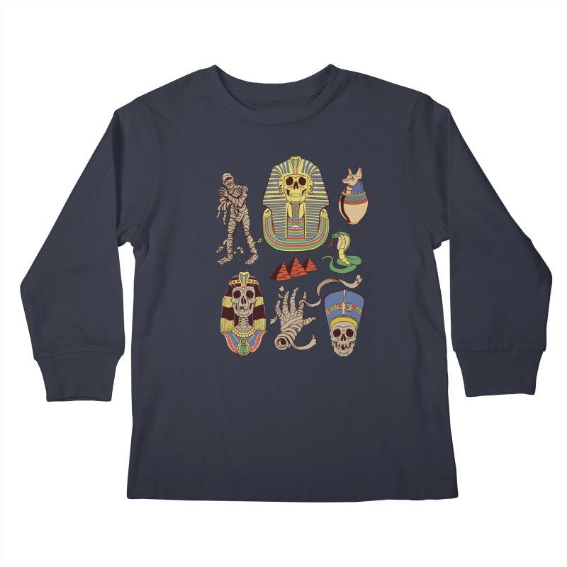 Mummy Death Pattern Kids Longsleeve T-Shirt by funnyfuse's Artist Shop