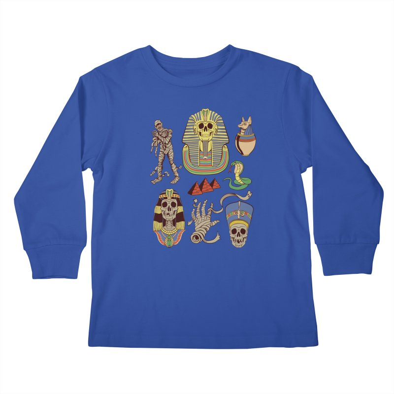Mummy Death Pattern Kids Longsleeve T-Shirt by funnyfuse's Artist Shop