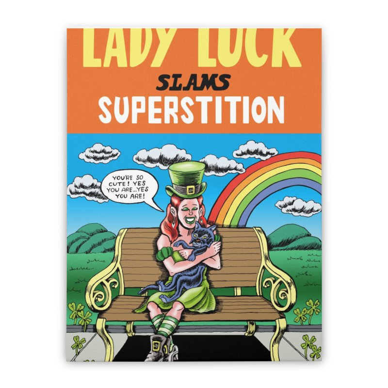 Lady Luck Slams Superstition Home Stretched Canvas by funnyfuse's Artist Shop