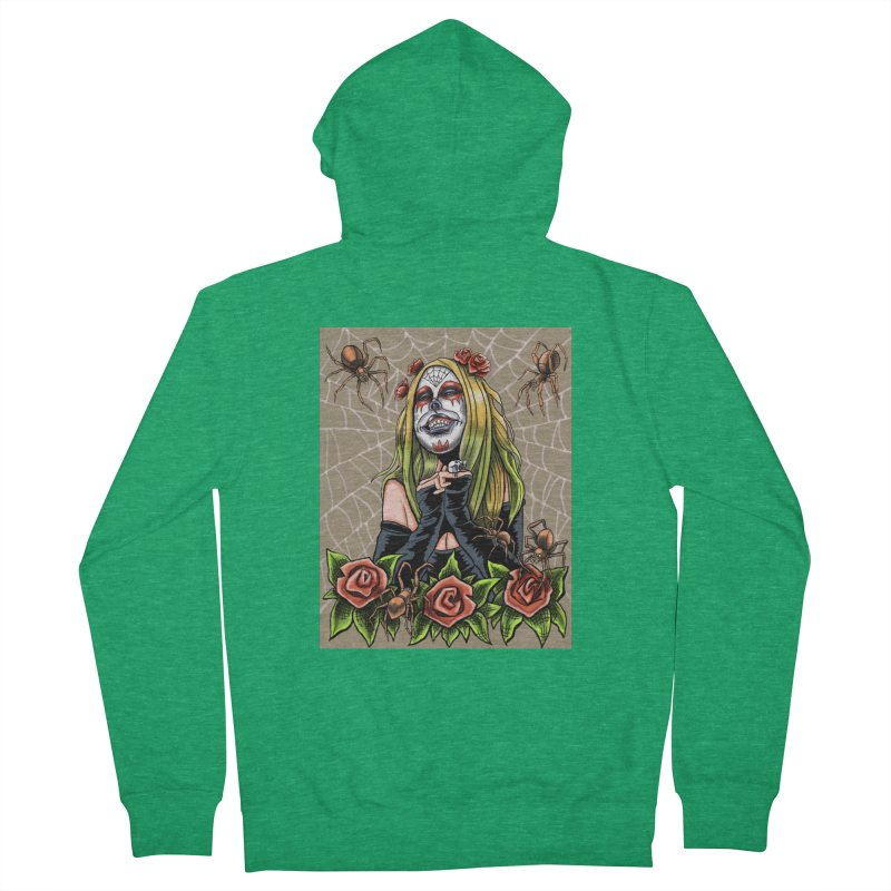 Spider Sugar Skull Women's Zip-Up Hoody by funnyfuse's Artist Shop