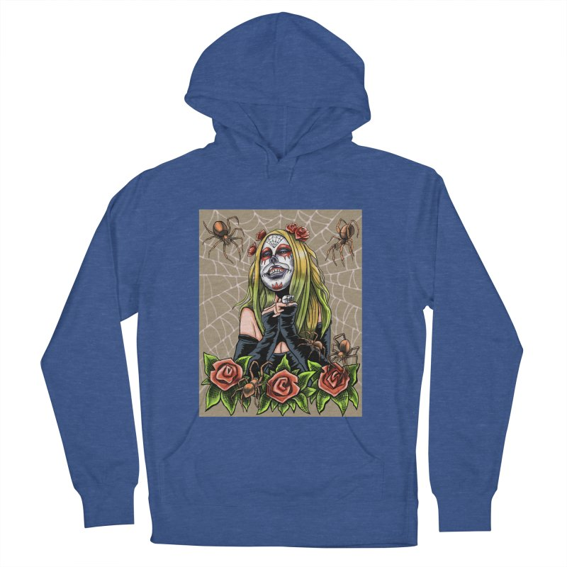 Spider Sugar Skull Women's French Terry Pullover Hoody by funnyfuse's Artist Shop