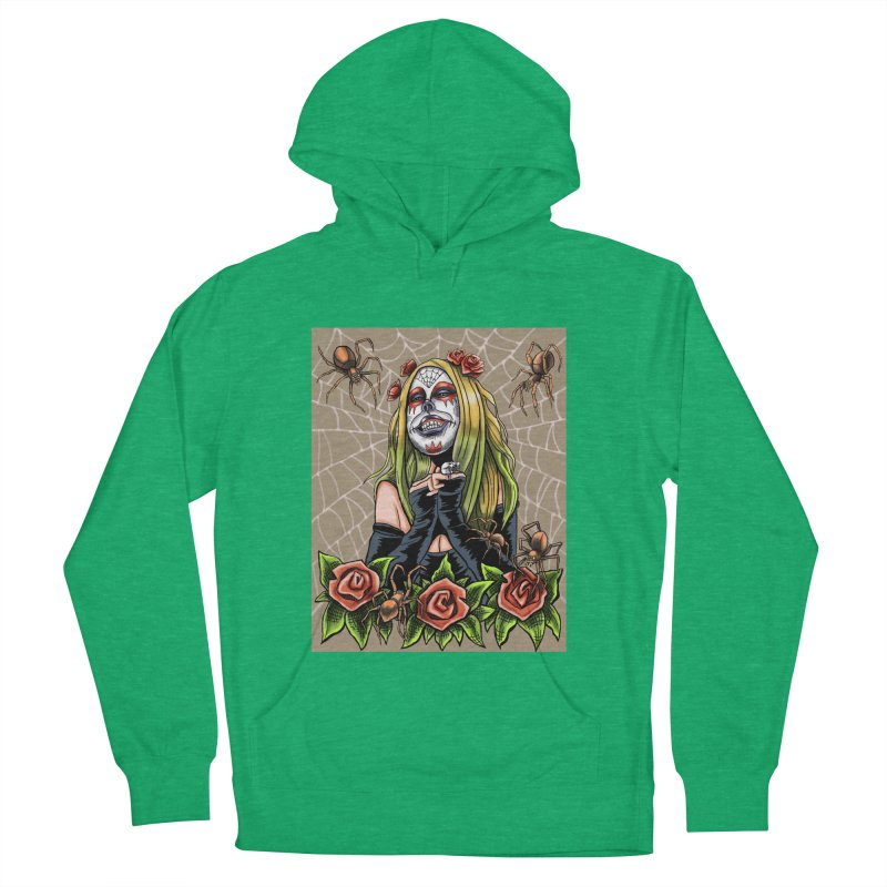 Spider Sugar Skull Men's French Terry Pullover Hoody by funnyfuse's Artist Shop