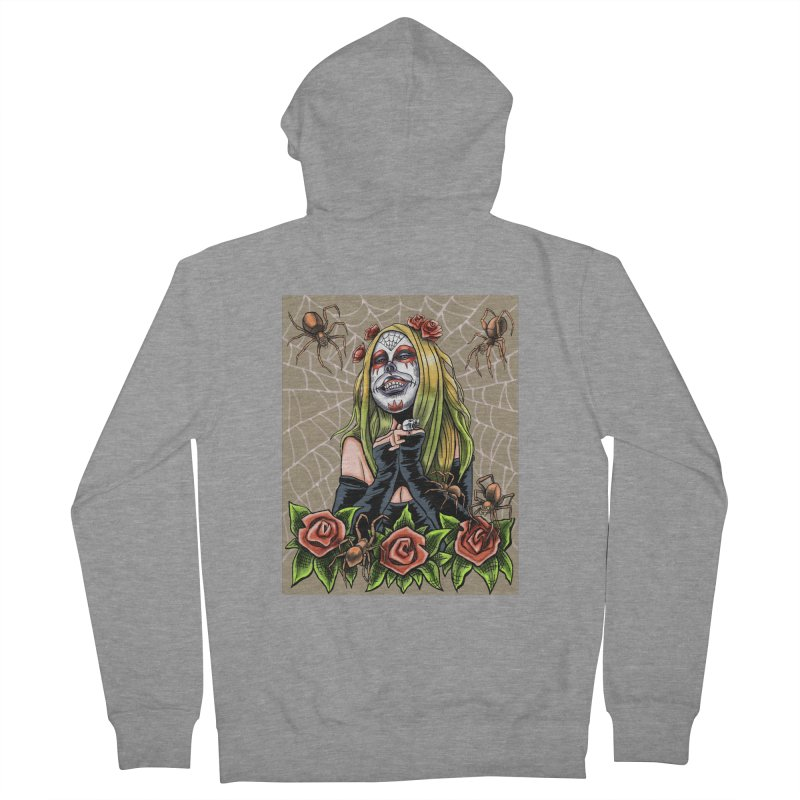 Spider Sugar Skull Women's French Terry Zip-Up Hoody by funnyfuse's Artist Shop