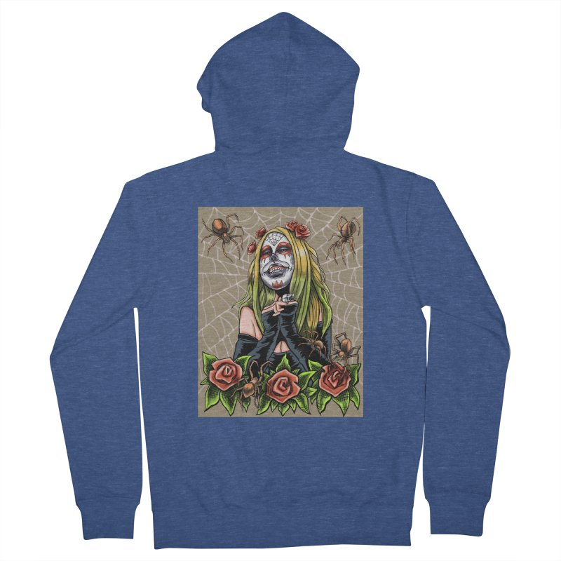 Spider Sugar Skull Men's French Terry Zip-Up Hoody by funnyfuse's Artist Shop