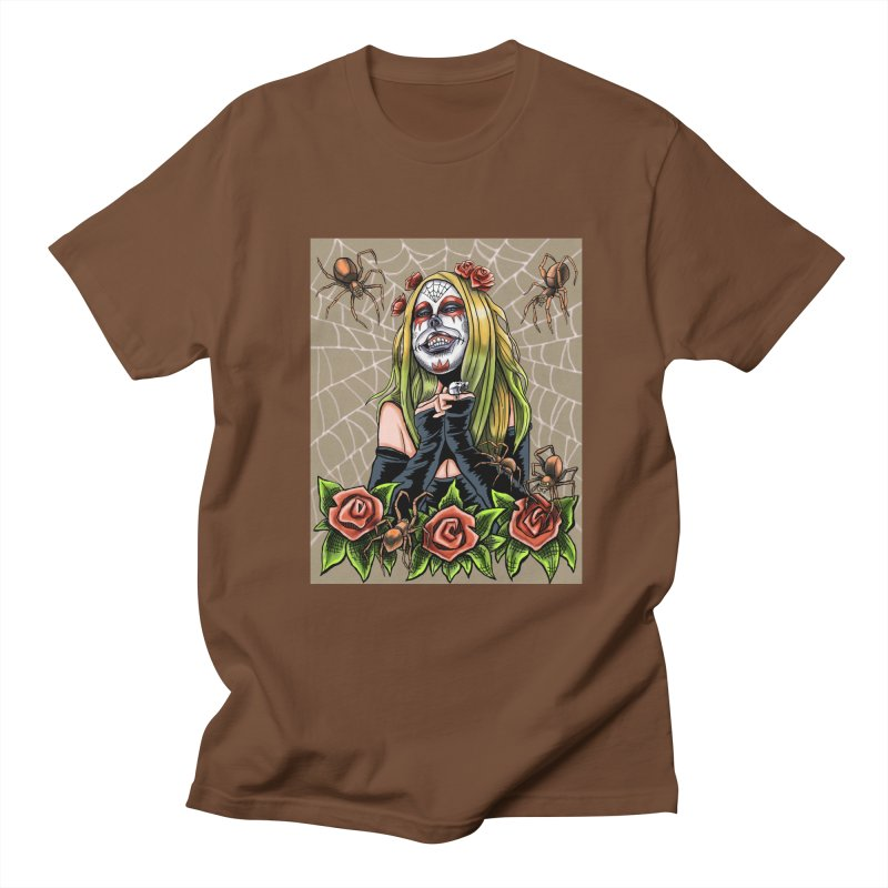 Spider Sugar Skull Men's Regular T-Shirt by funnyfuse's Artist Shop