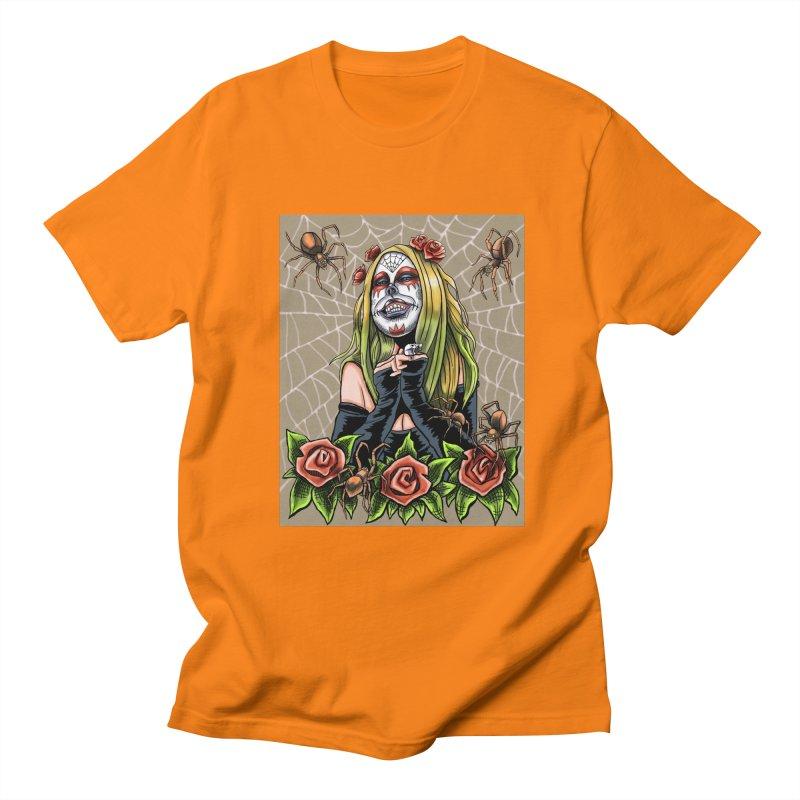 Spider Sugar Skull Men's Regular T-Shirt by funnyfuse's Artist Shop
