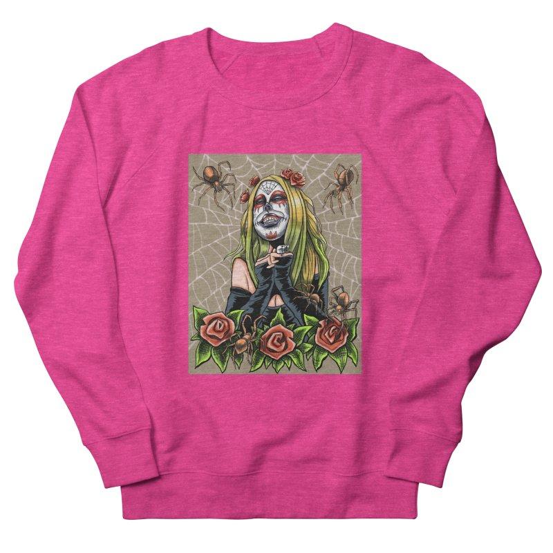 Spider Sugar Skull Women's French Terry Sweatshirt by funnyfuse's Artist Shop