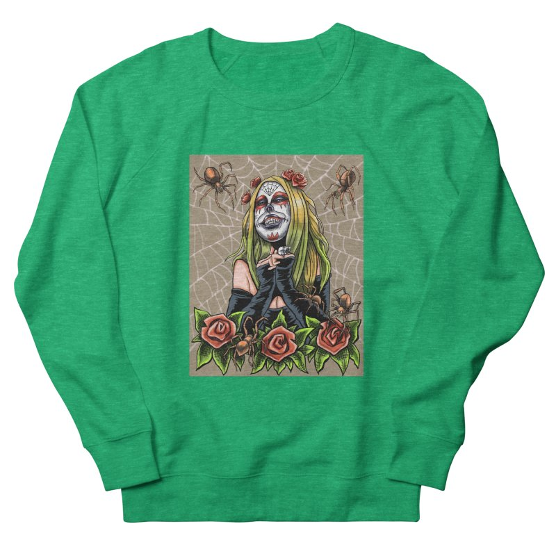 Spider Sugar Skull Men's French Terry Sweatshirt by funnyfuse's Artist Shop