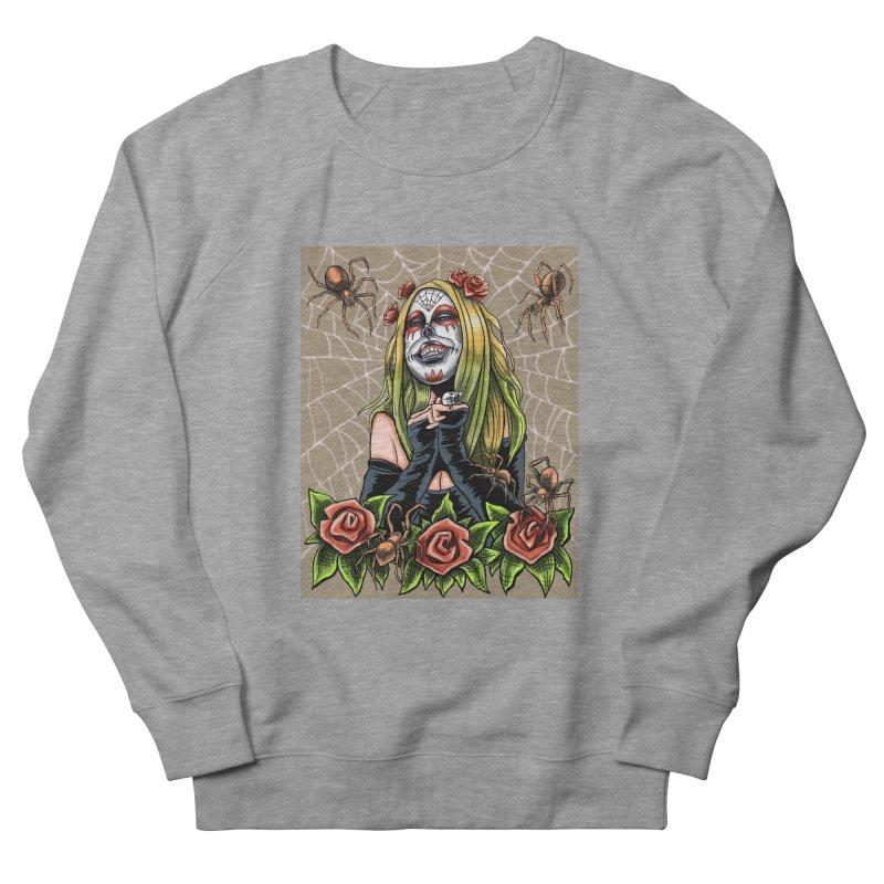Spider Sugar Skull Men's French Terry Sweatshirt by funnyfuse's Artist Shop