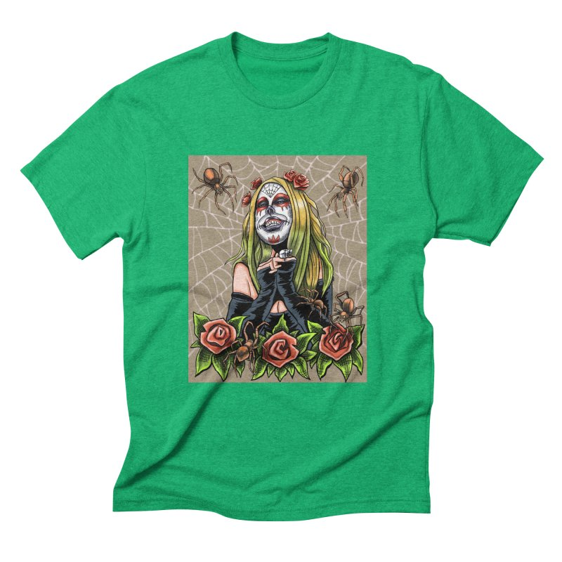 Spider Sugar Skull Men's Triblend T-Shirt by funnyfuse's Artist Shop