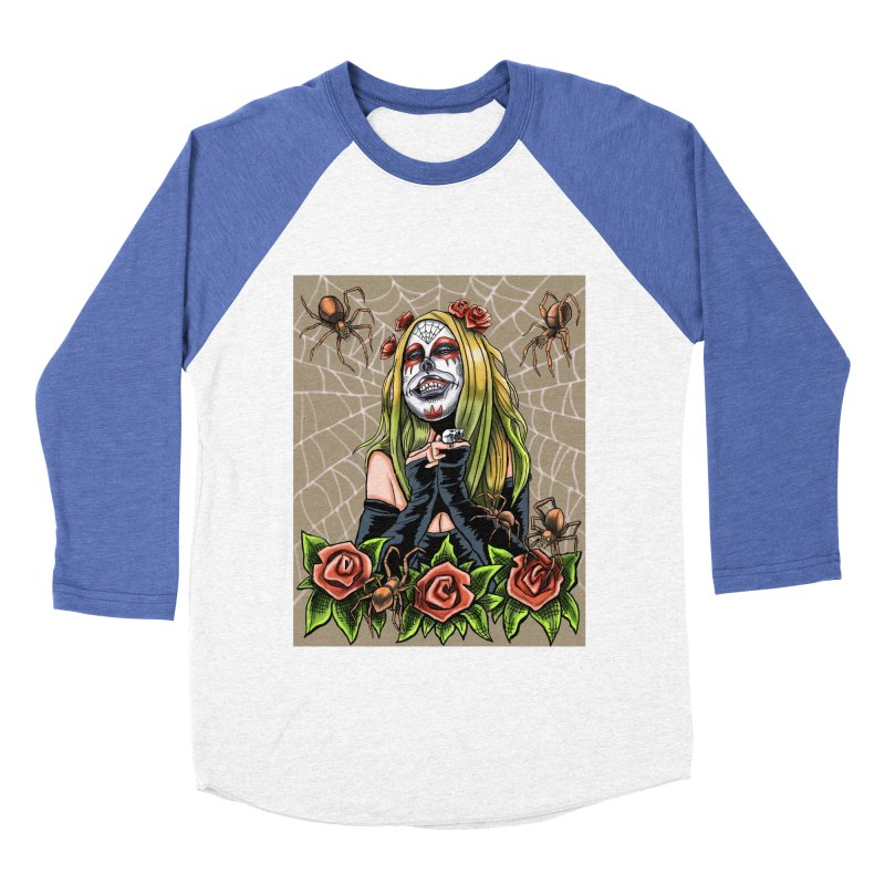 Spider Sugar Skull Women's Baseball Triblend T-Shirt by funnyfuse's Artist Shop