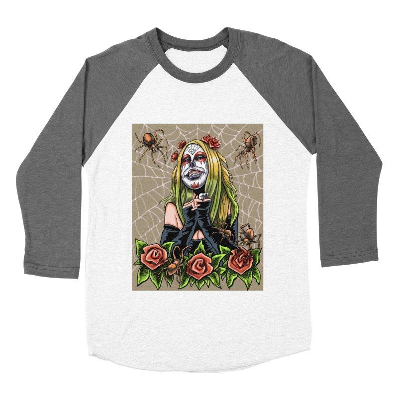 Spider Sugar Skull Women's Baseball Triblend T-Shirt by funnyfuse's Artist Shop