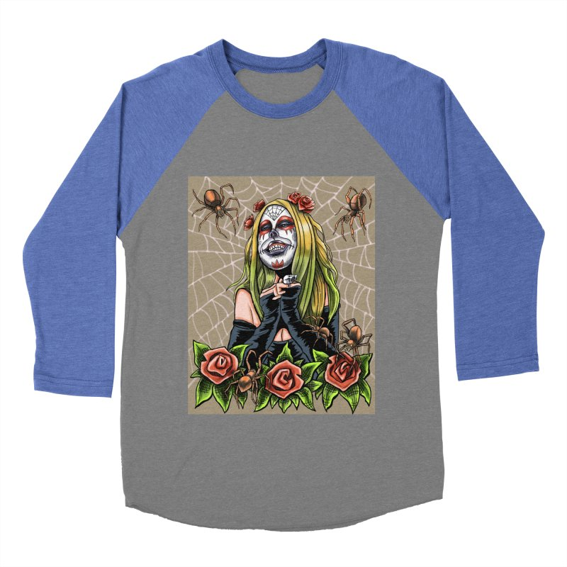 Spider Sugar Skull Women's Baseball Triblend Longsleeve T-Shirt by funnyfuse's Artist Shop
