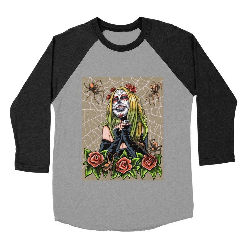 Spider Sugar Skull Women's Baseball Triblend Longsleeve T-Shirt by funnyfuse's Artist Shop