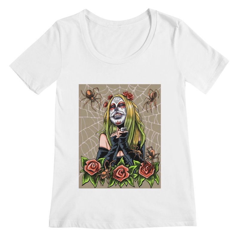 Spider Sugar Skull Women's Regular Scoop Neck by funnyfuse's Artist Shop