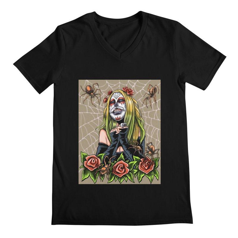 Spider Sugar Skull Men's Regular V-Neck by funnyfuse's Artist Shop