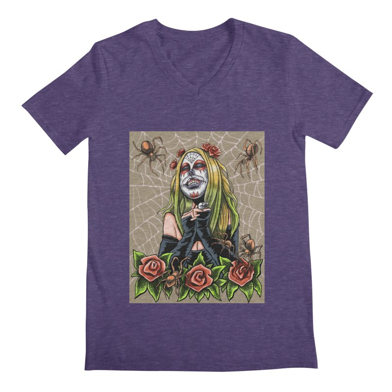 Spider Sugar Skull Men's Regular V-Neck by funnyfuse's Artist Shop