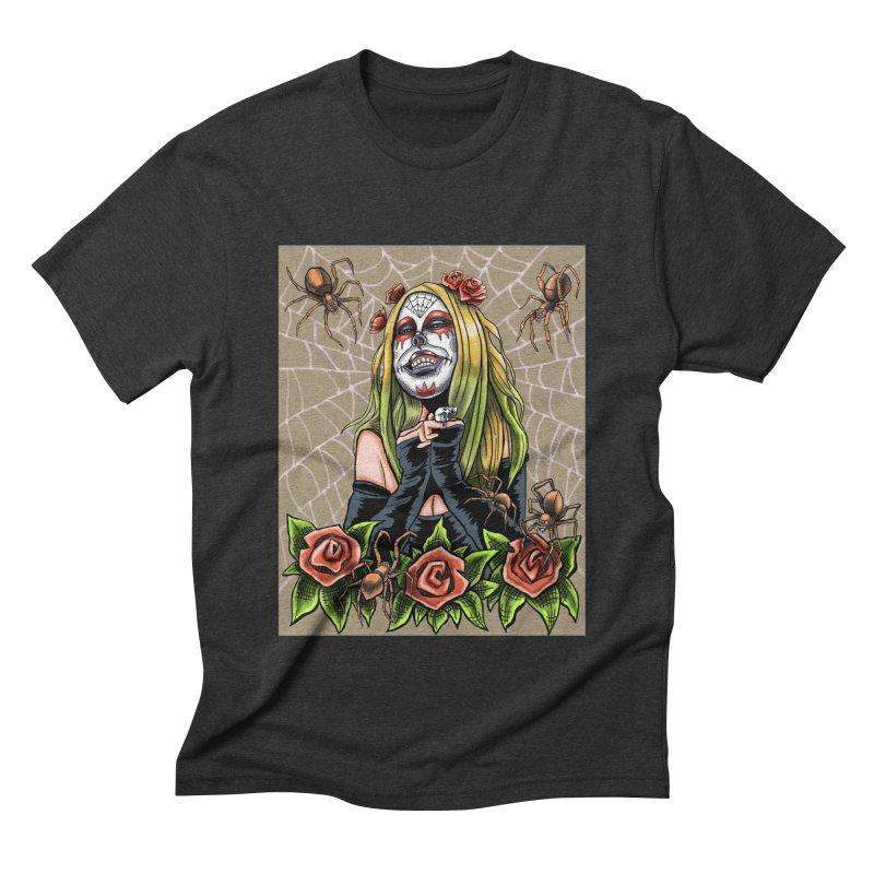 Spider Sugar Skull Men's Triblend T-shirt by funnyfuse's Artist Shop