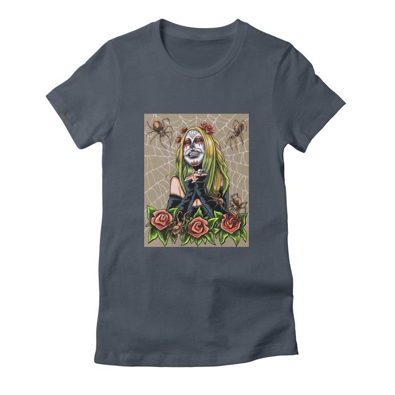 Spider Sugar Skull Women's T-Shirt by funnyfuse's Artist Shop