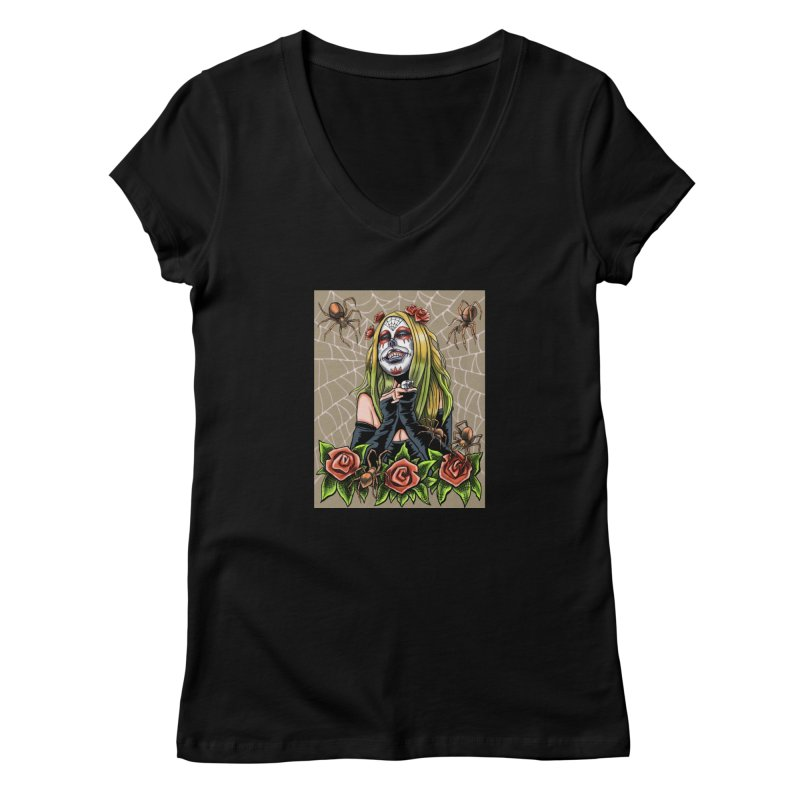 Spider Sugar Skull Women's V-Neck by funnyfuse's Artist Shop