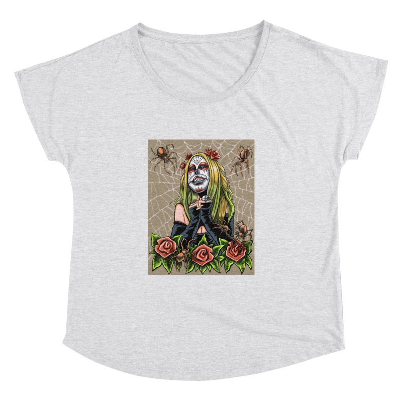 Spider Sugar Skull Women's Dolman Scoop Neck by funnyfuse's Artist Shop