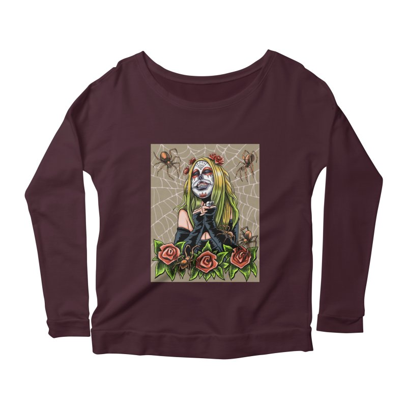 Spider Sugar Skull Women's Scoop Neck Longsleeve T-Shirt by funnyfuse's Artist Shop