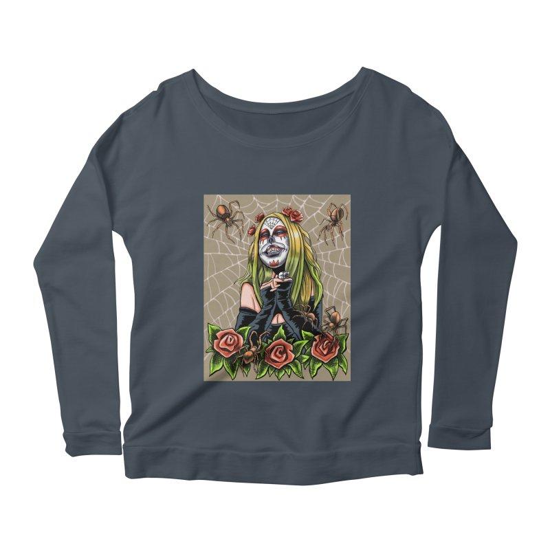 Spider Sugar Skull Women's Scoop Neck Longsleeve T-Shirt by funnyfuse's Artist Shop