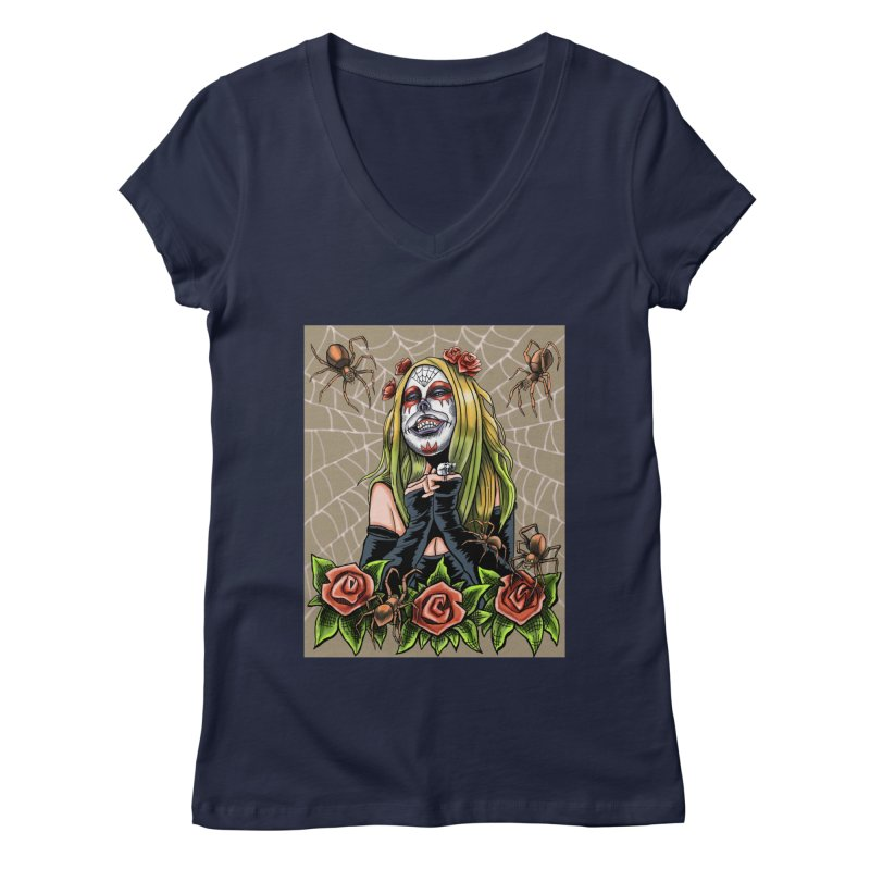 Spider Sugar Skull Women's Regular V-Neck by funnyfuse's Artist Shop