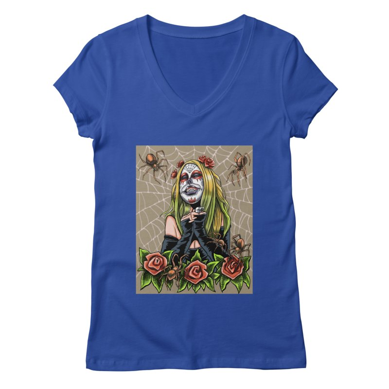 Spider Sugar Skull Women's V-Neck by funnyfuse's Artist Shop