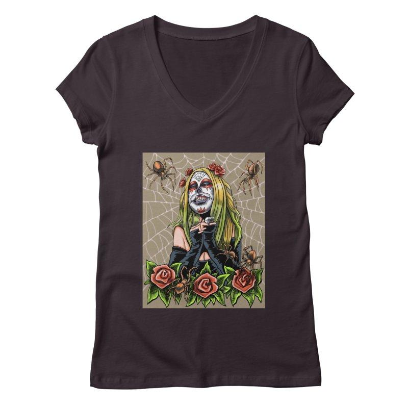 Spider Sugar Skull Women's Regular V-Neck by funnyfuse's Artist Shop