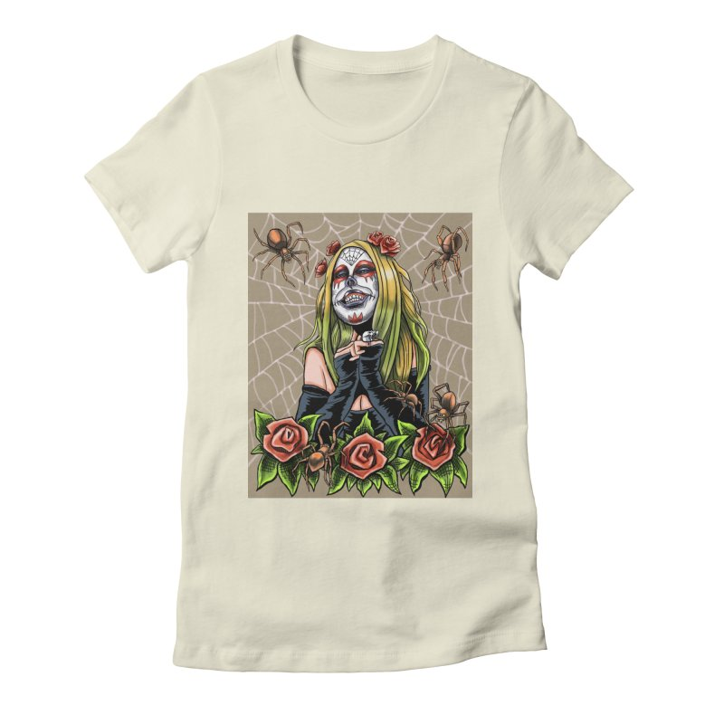 Spider Sugar Skull Women's Fitted T-Shirt by funnyfuse's Artist Shop