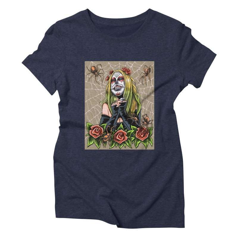 Spider Sugar Skull Women's Triblend T-Shirt by funnyfuse's Artist Shop