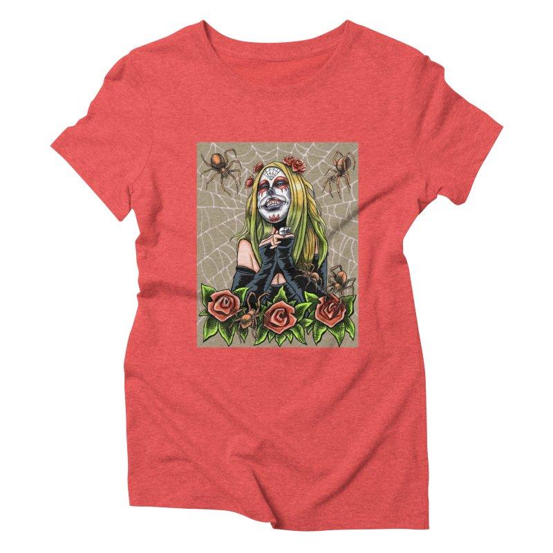 Spider Sugar Skull Women's Triblend T-shirt by funnyfuse's Artist Shop