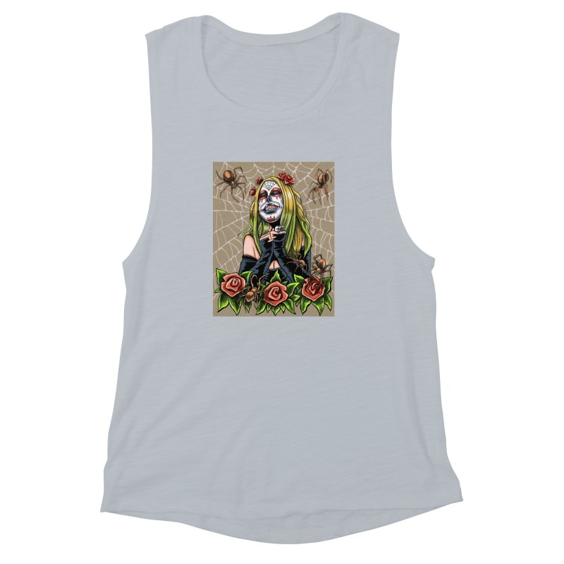 Spider Sugar Skull Women's Muscle Tank by funnyfuse's Artist Shop
