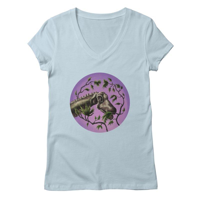 Diplodocus Women's V-Neck by funnyfuse's Artist Shop