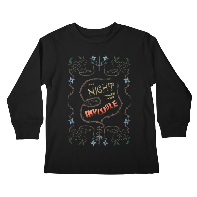 Ninja Typography Kids Longsleeve T-Shirt by funnyfuse's Artist Shop